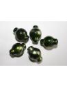Perline Acrilico Verde Argento Ampollina 17x12mm - 14pz
