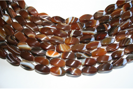 Agate Beads Brown Olive Twist 8x16mm - 24pz