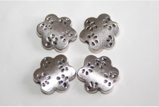 Tibetan Silver Flower Beads 13,5x13mm - 4pcs