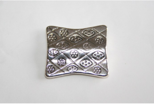 Tibetan Silver Rectangle Spacer Beads 21x18mm - 2pcs