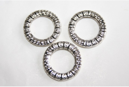 Tibetan Silver Ring Connectors 17mm - 4pcs