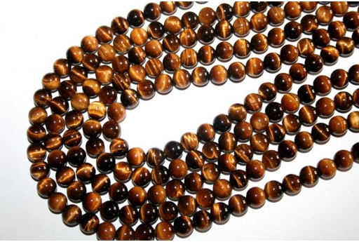 Tiger's Eye Round Bead Strand 48pcs 8mm OCDT2