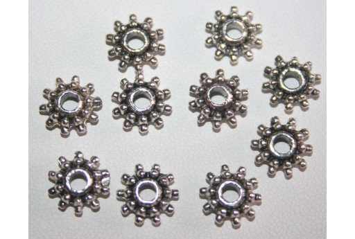 Antique Silver Tibetan Spacer Beads 3x8mm - 20pcs