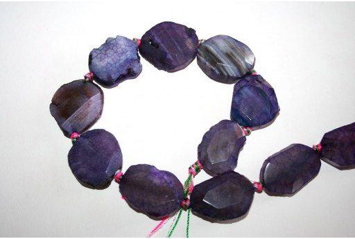 Agate Beads Violet Faceted Rock 18x30mm - 1pz