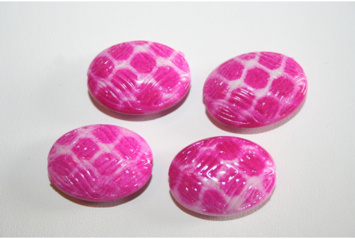 Acrylic Beads Fuchsia Inlaid Oval 29x18mm - 10pz