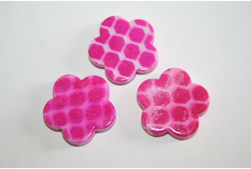 Acrylic Beads Fuchsia Flower 24mm - 8Pz