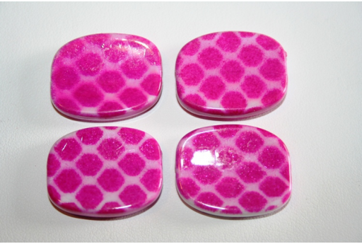 Acrylic Beads Fuchsia Rectangle 26x21mm - 10pz