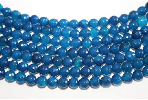 Agate Beads Blue Faceted Sphere 6mm - 60pcs
