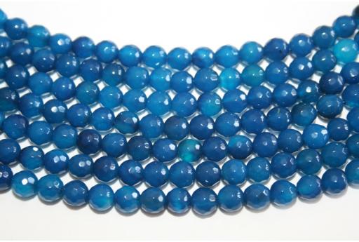 Filo 64 Pietre Agata Blue Sfera Sfaccettata 6mm AG126