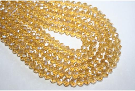 Perline Vetro Giallo Oro AB Rondella Sfaccettata 8x6mm - 70pz