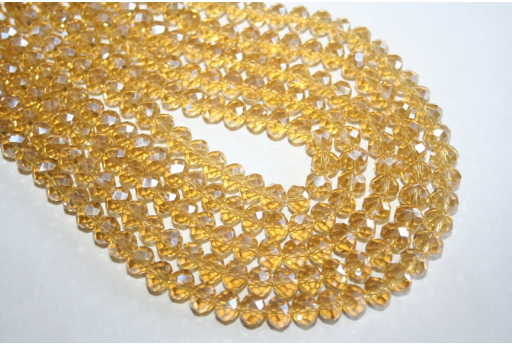 Chinese Crystal Beads Faceted Rondelle Golden Yellow AB 8x6mm - 70pz