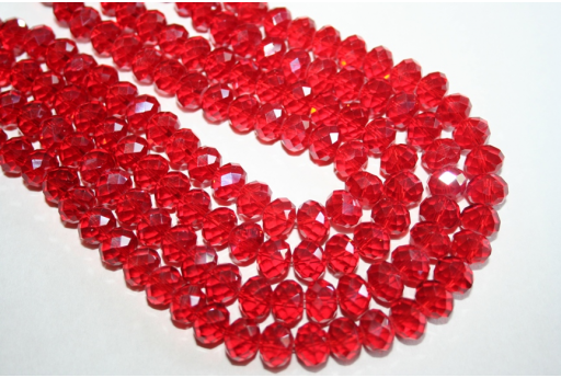 Chinese Crystal Beads Faceted Rondelle Red 10x7mm - 70pz