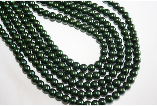 Perline Vetro Verde Scuro 6mm - Filo 68pz
