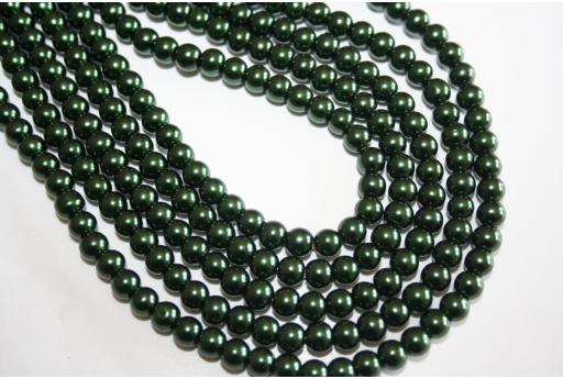 Perline Vetro Verde Scuro 6mm - Filo 68pz