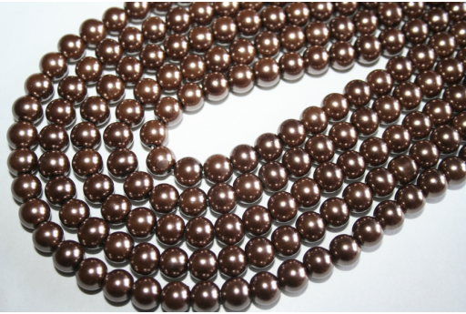 Glass Beads Dark Brown 8mm - Filo 52pz