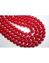Perline Vetro Rosso Acceso Sfera 10mm - Filo 44pz