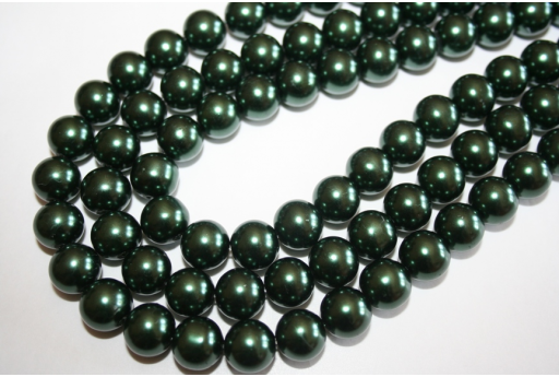 Perline Vetro Verde Scuro Sfera 12mm - Filo 34pz
