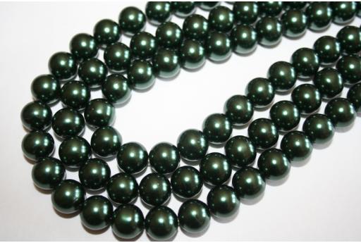 Perline Vetro Verde Scuro Sfera 12mm - Filo 34pz