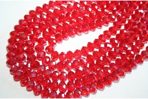 Filo 70 Perline Vetro Rosso Rondella Sfaccettata 8x6mm VE62