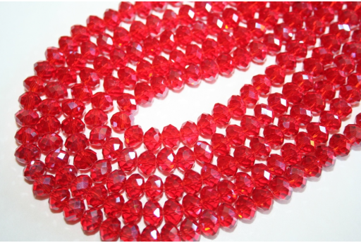 Chinese Crystal Beads Faceted Rondelle Red 8x6mm - 70pz