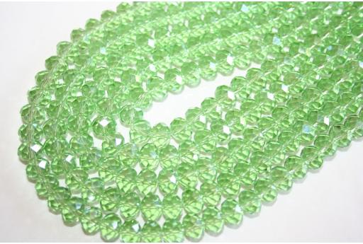Filo 70 Perline Vetro Verde Chiaro AB Rondella Sfaccettata 8x6mm VE62A