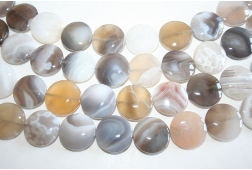 Botswana Agate Beads Grey Pastille 20mm - 20pz