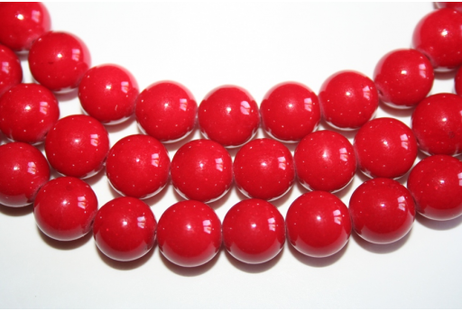 Mashan Jade Beads Red Sphere 12mm - 32pz