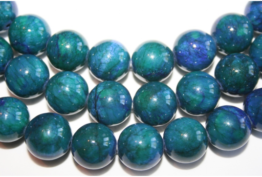 Mashan Jade Beads Blue/Green Sphere 14mm - 28pz