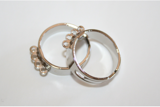 Platinum Plated Adjustable 4 Loops Ring Base