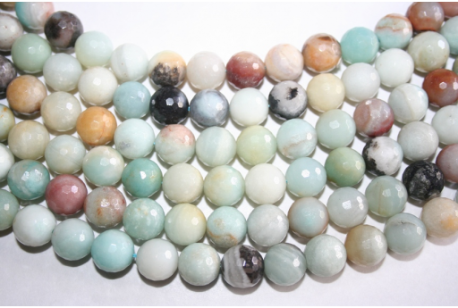 Amazonite Beads Multicolor Faceted Sphere 12mm - 3pz