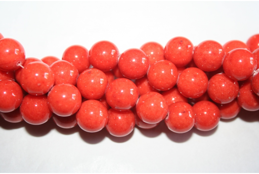 Mashan Jade Beads Orange Sphere 14mm - 28pz