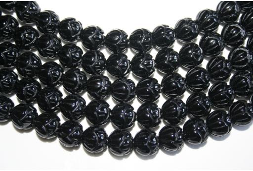 Filo 30 Pietre Onice Fiore Intarsiato 12mm