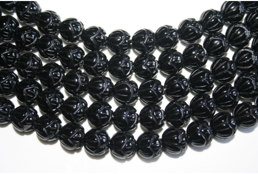 Black Onix Inlaid Flower Beads 12mm - 2pcs ONI88A