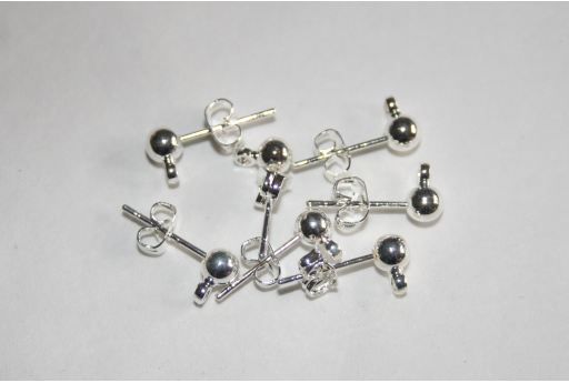 Silver Plated Ball Ear Studs 16mm - 4pcs