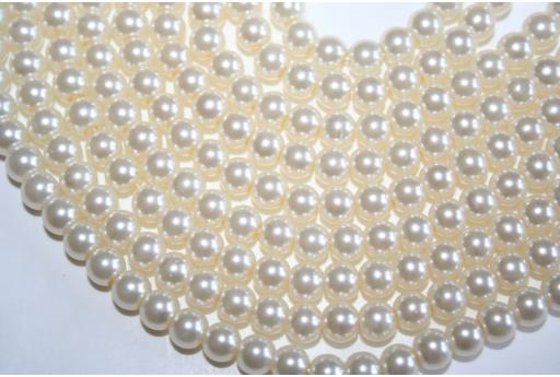 Perline Vetro Crema Sfera 6mm - Filo 70pz