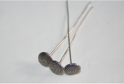 Silver Plated Spiral Pattern Headpins 48x1mm - 2pcs