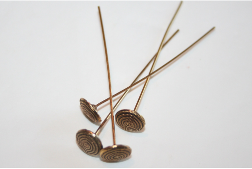 Gold Plated Spiral Pattern Headpins 48x1mm - 2pcs