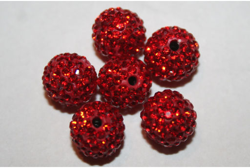 Perlina Strass Resina Rossa Sfera 10mm - 1pz