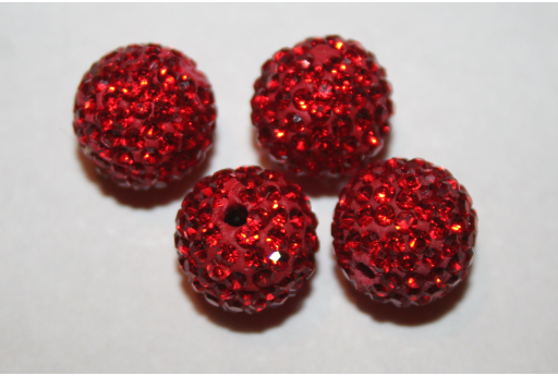 Perlina Strass Resina Rossa Sfera 12mm RE01B