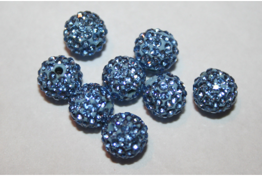 Perlina Strass Resina Azzurra Sfera 8mm RE087