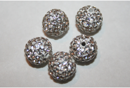 Perlina Strass Resina Bianca Sfera 10mm - 1pz