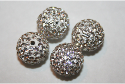 Perlina Strass Resina Bianca Sfera 12mm - 1pz