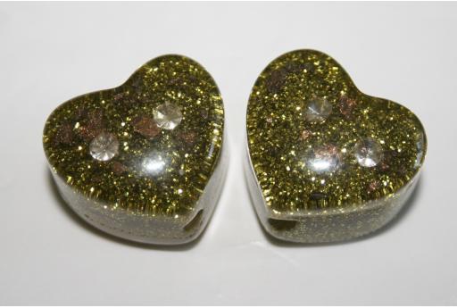 Perlina Glitter e Strass Resina Verde 23,5x21mm RE07B