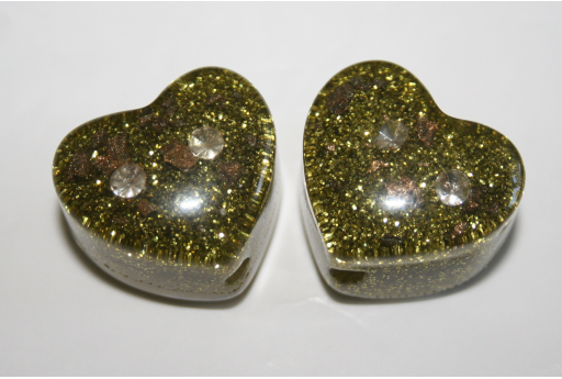 Perlina Glitter e Strass Resina Verde 23,5x21mm RE07B
