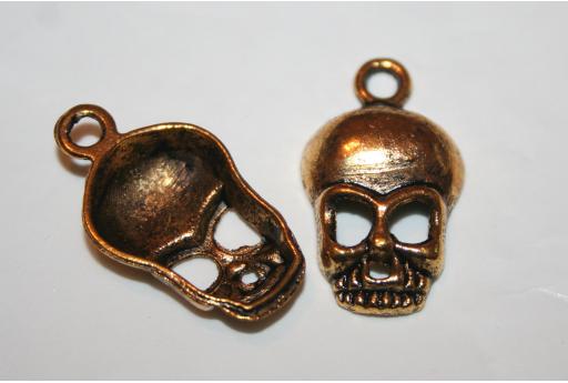 Pendenti Argento Tibetano Teschio Colore Oro 27x15mm - 6pz