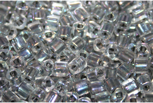 Toho Cube Beads 4mm, 10gr., Inside Color Rainbow Crystal / Opaque gray line