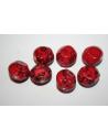 Perline Acrilico Rosso Tondo Intarsiato 16mm - 12pz