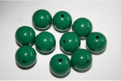 Perline Acrilico Verde Scuro Sfera 14mm - 25pz