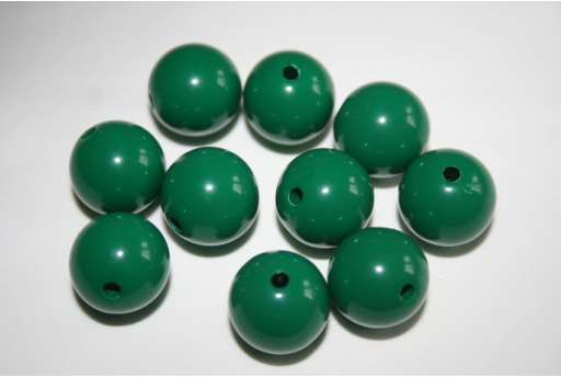 Perline Acrilico Verde Scuro Sfera 14mm - 25pz
