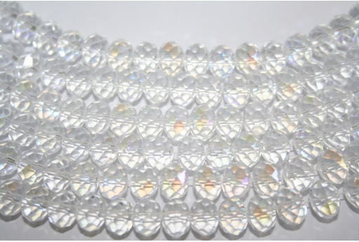 Filo 70 Perline Vetro Crystal AB Rondella 8x6mm VE62B